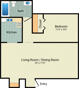 1 Bed / 1 Bath / 540 sq ft / Rent: $550