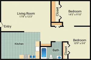 2 Bed / 1 Bath / 648 sq ft / Rent: $575