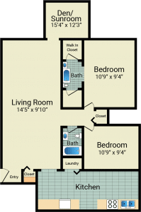 2 Bed / 2 Bath / 1,888 sq ft / 995 Condo Style Living