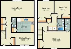 3 Bed / 1 Full & 2 Half Bath / 1,466 sq ft / Availability: Not Available / Rent: $750 w/patio & garage