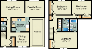 3 Bed / 2 full & 1 half Bath / 1,593 sq ft / Deposit: $775 / Rent: $775